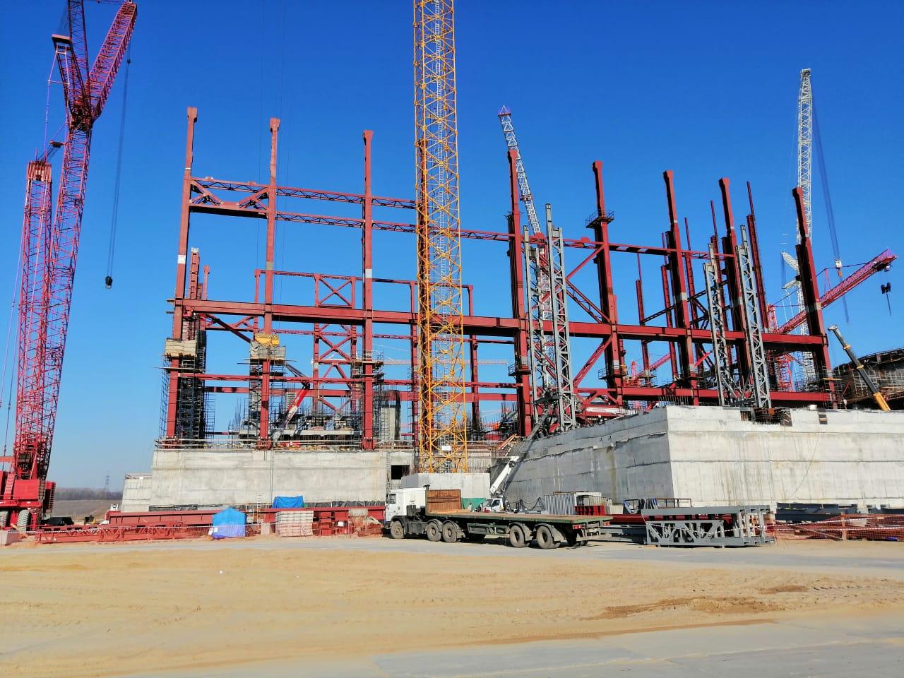 Специалисты АО «КОНЦЕРН ТИТАН-2» заканчивают монтаж каркаса здания турбины на первом энергоблоке Курской АЭС-2